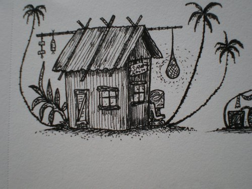 WWII Island hut drawing Tiki tOny | I used this hut for ...