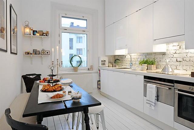 white kitchen, brick backsplash   from alvhem   anna @ d16   flickr