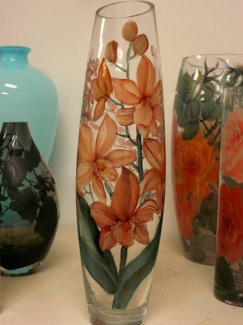 Glass painting vase using unleaded glass color fire for How do i paint glass