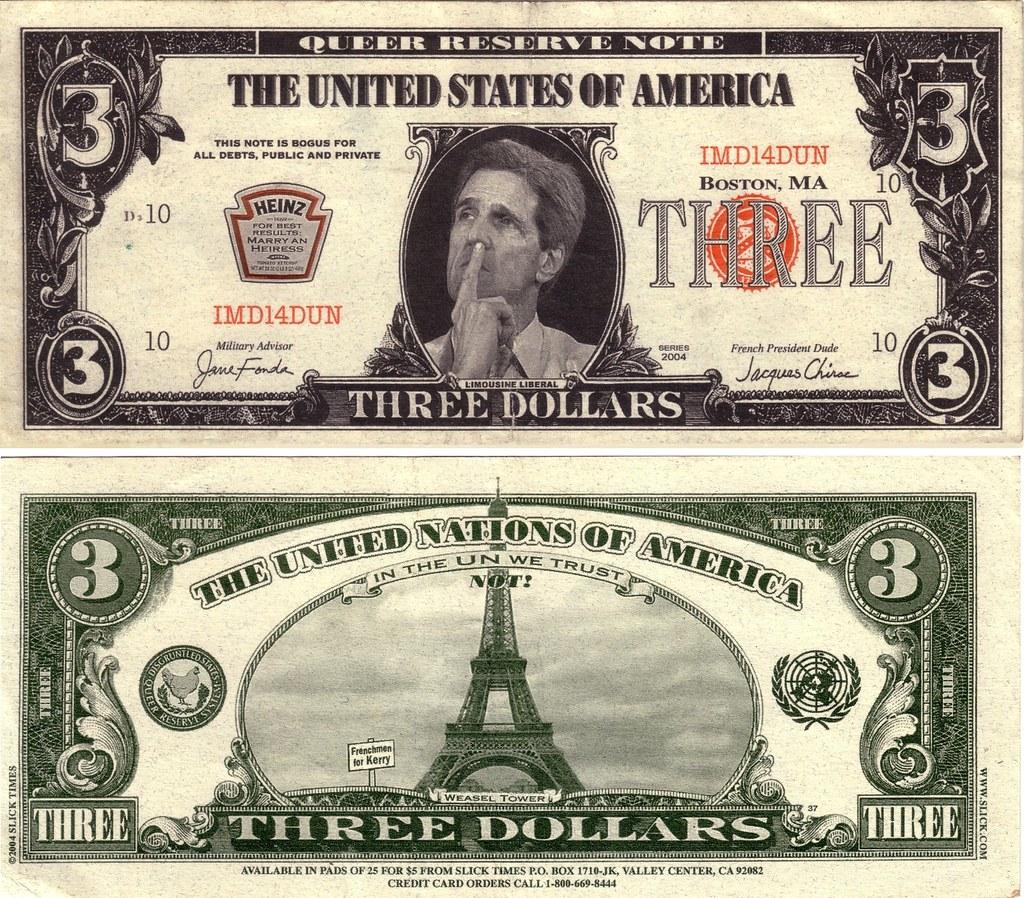 billet de trois dollars three dollar bill Ωméga flickr