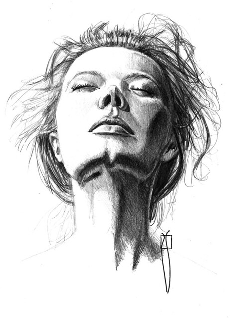 woman with eyes closed   pencil on A4 paper size ...