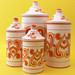 Set of 4 - Mod Orange Funky Porcelain Canister Set