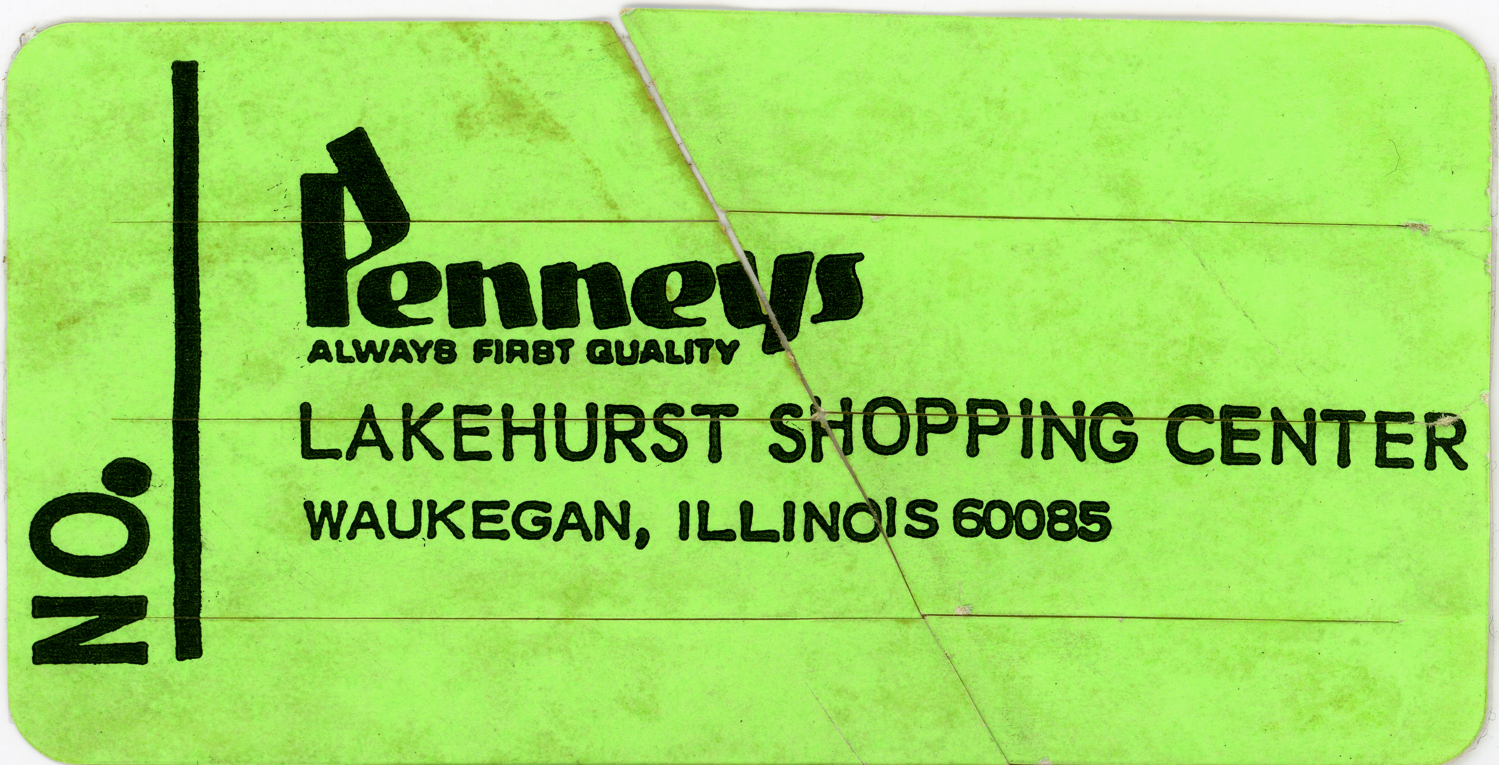 1971 Lakehurst Mall JCPenney Label