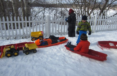 sitting in sleds