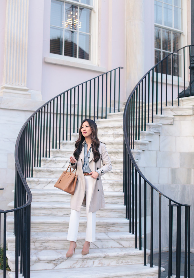 Charleston classy trench coat white pants petite outfit