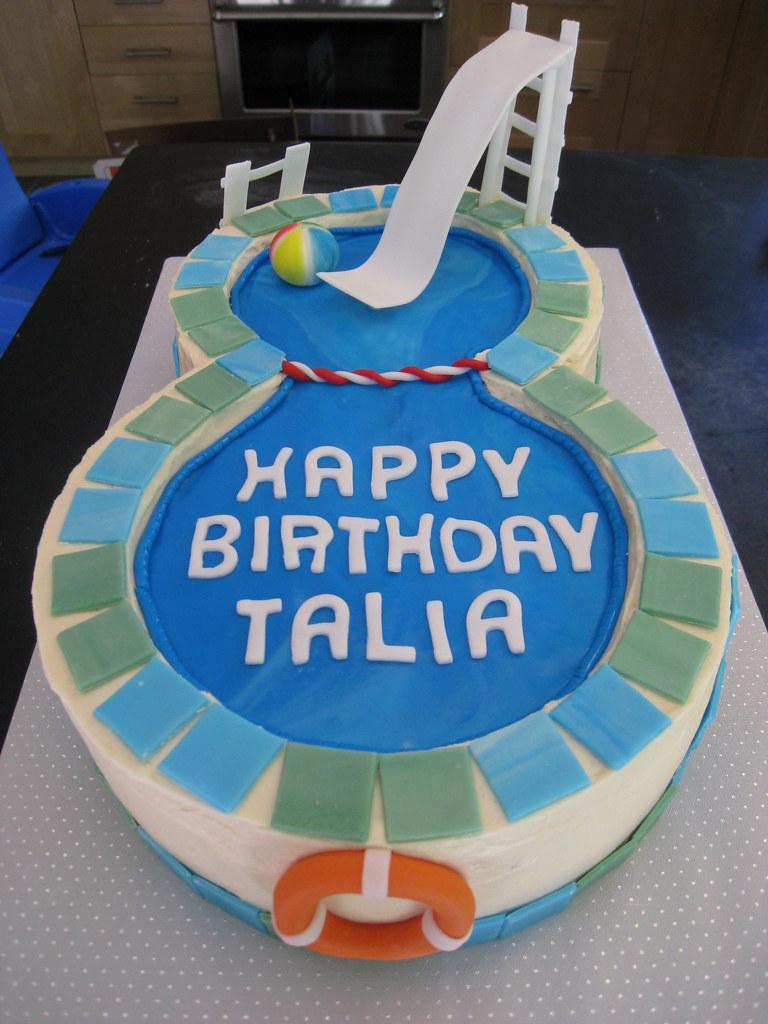 Talia S Swimming Pool Cake Thanks To Glass Slipper