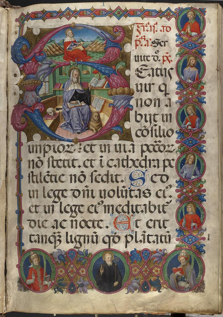 psalterium cum antiphonis  folio 1  recto