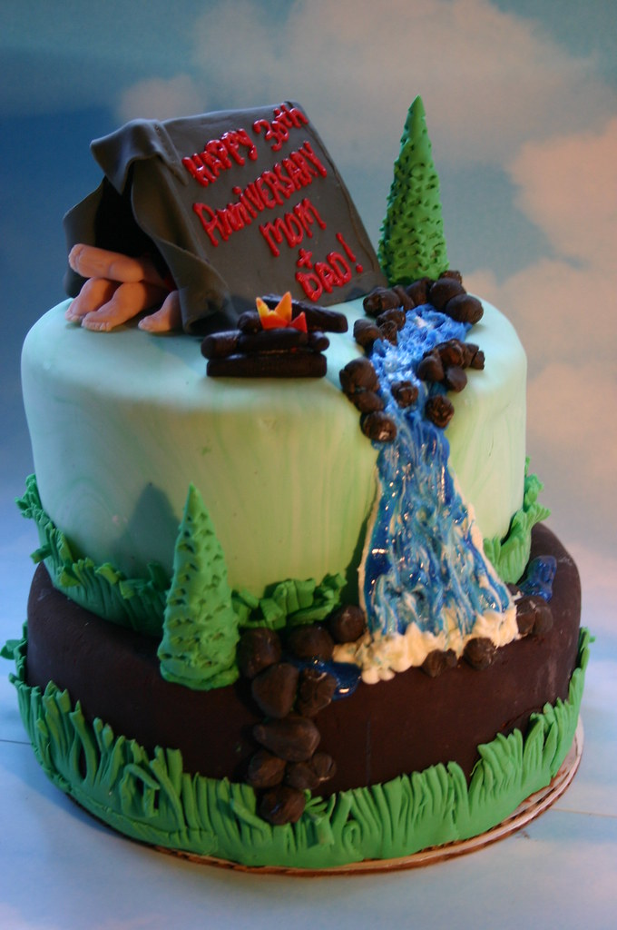 Camping Cake Double Tiered Chocolate With Chocolate