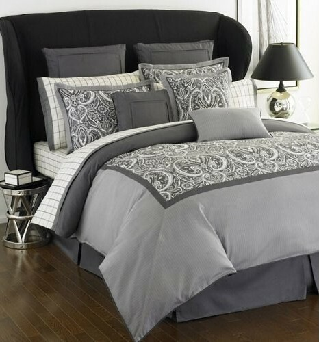Tommy Hilfiger Hudson Valley Grey Paisley King Comforter S