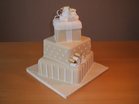 Wedding Present Cake 3 Tier Ivory And White Wedding Presen - Present Wedding Cake