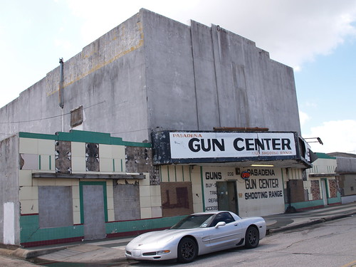 Pasadena Texas Old Building and Sign 2009 Movie Theater now a gun shop PA073785 | by mrchriscornwell