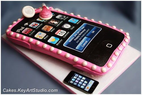 IPod Touch Player in a Pink Case Cake : by Cakes.KeyArtStudio.com