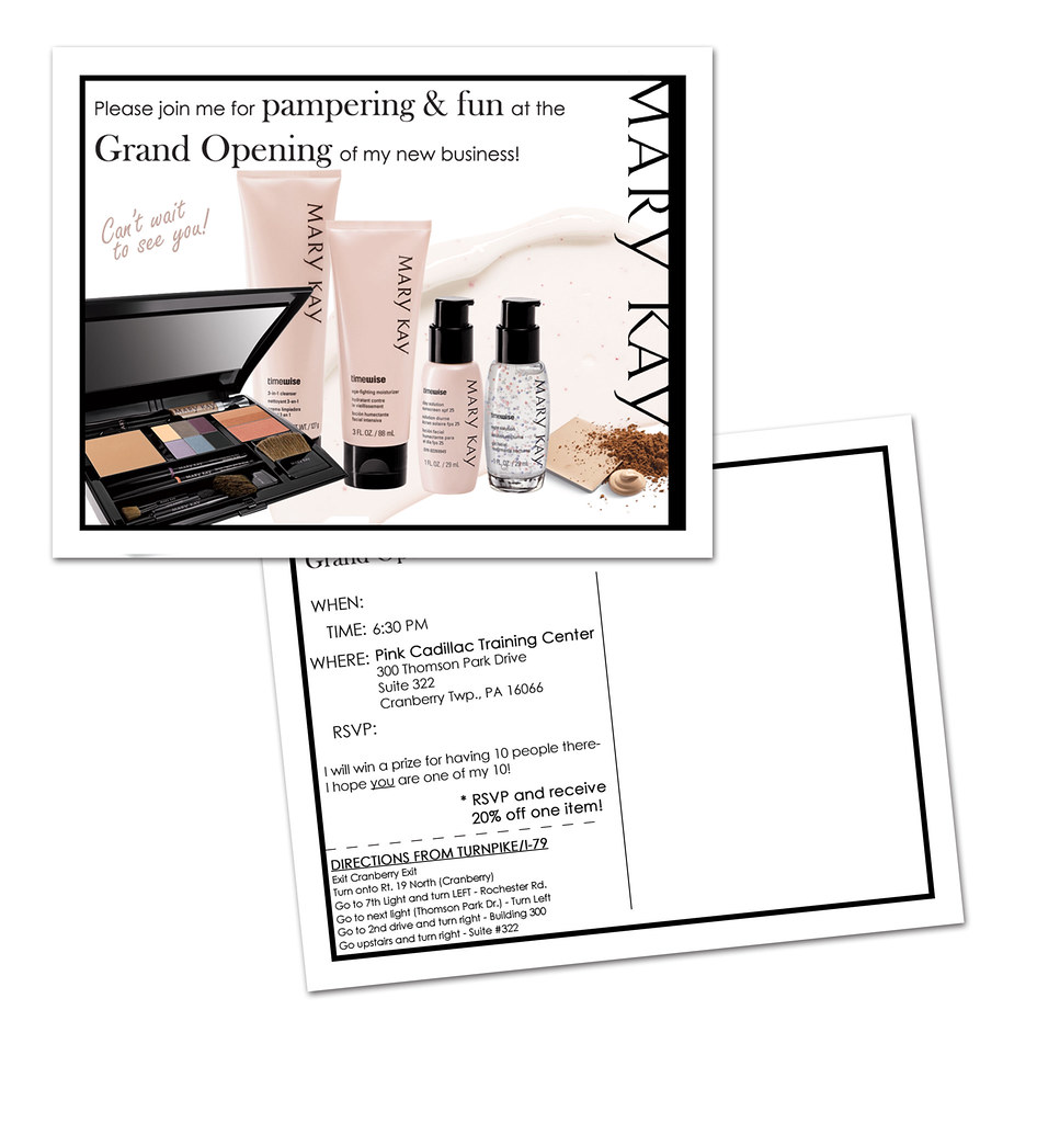 Mary kay debut invitation a postcard sent out as an for Mary kay invite templates