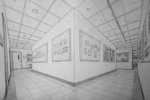 School Hallway Perspective Drawing Graphite Pencil