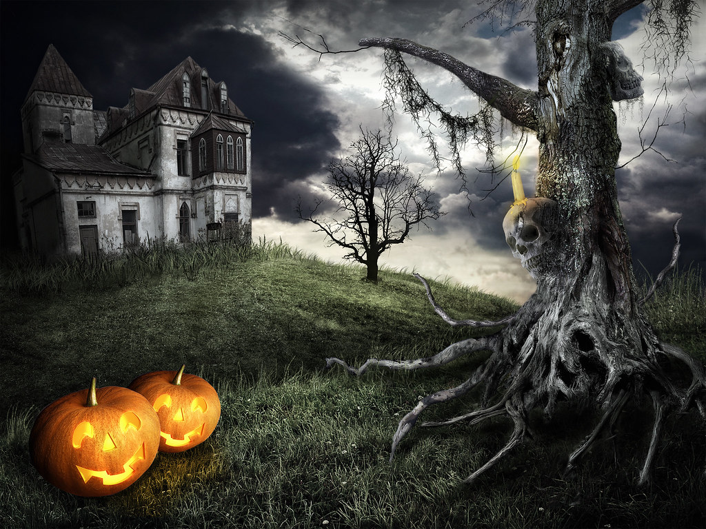 happy halloween theme mystical tree on the background of a flickr