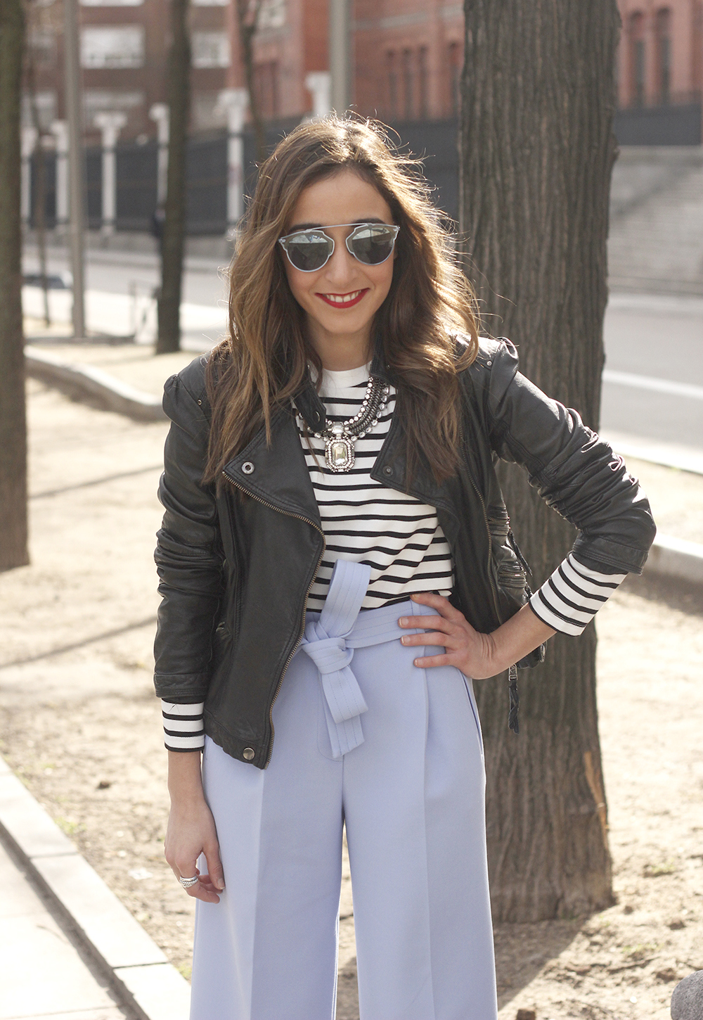 Light Blue Pallazzo pants t-shirt stripes black heels biker jacket dior so real sunglasses outfit style fashion07