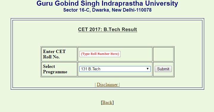IPU CET BTech Result format 2017