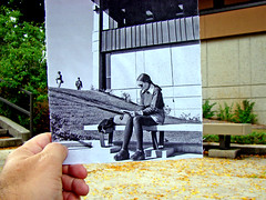 Sitting on a bench now/then | by uwgb admissions