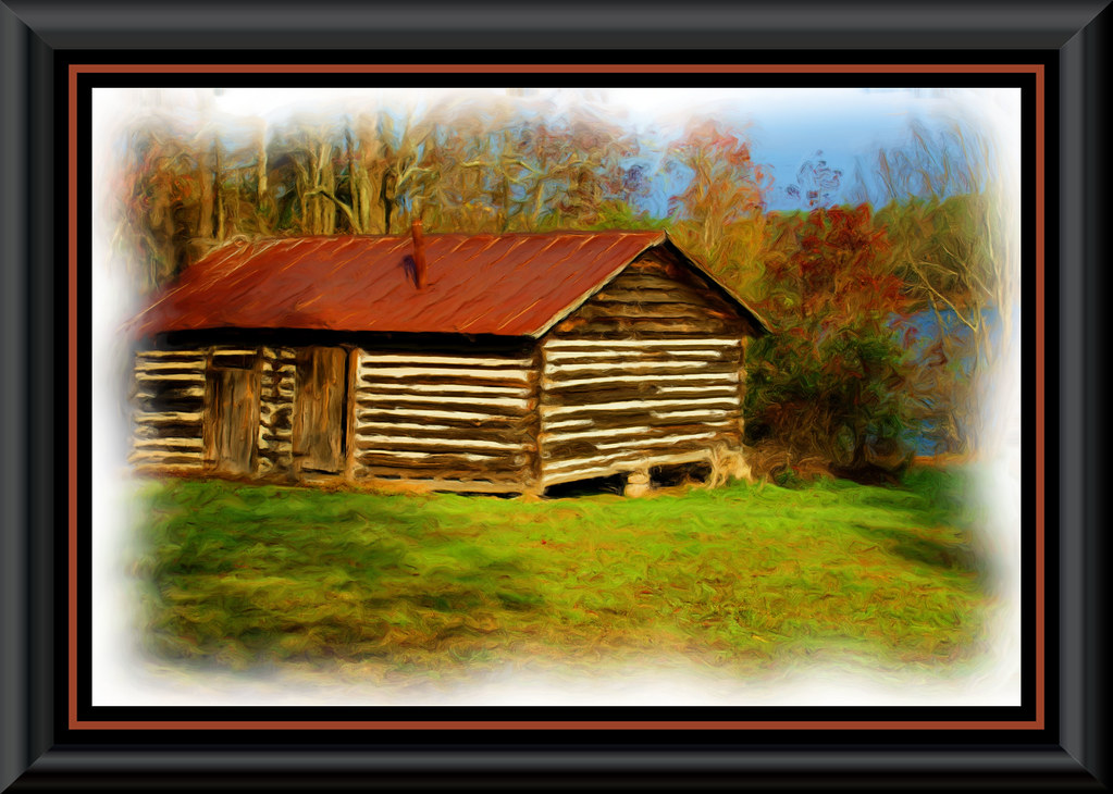 Log cabin painting an old log cabin on oxford nc 39 s lake for Log cabin painting