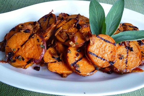 Grilled Sweet Potatoes with Pancetta & Sage Vinaigrette | by CookinCanuck