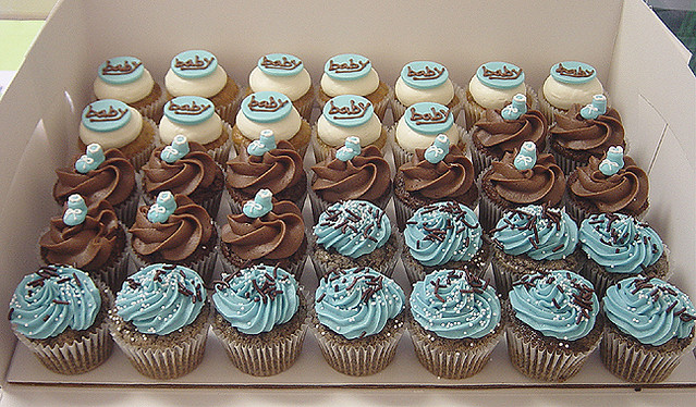 Baby Shower Blue And Brown Cupcakes Carrie Fisher Flickr