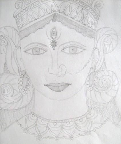 I Have Made A Pencil Sketch Of Goddess