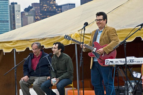 RadioLab hosts Jad Abumrad and Robert Krulwich, and John Flansburg of They Might Be Giants | by Pabo76