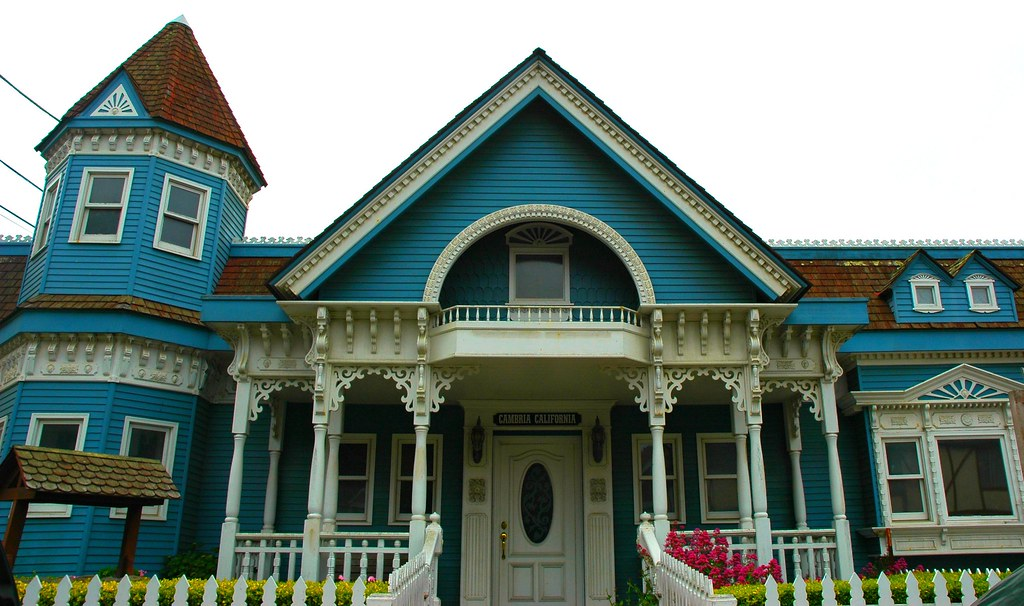 Blue And White Classic Victorian House Cambria Californi