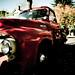 Big red vintage ford truck