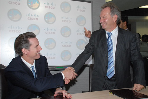 San Francisco Mayor Gavin Newsom and Wim Elfrink | by Cisco Pics