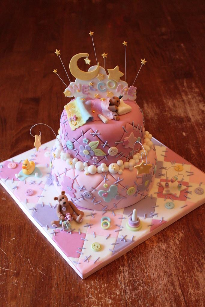 My 7th Welcome baby quilt cake!!   Bottom tier is vanilla ca…   Flickr : baby quilt cake - Adamdwight.com