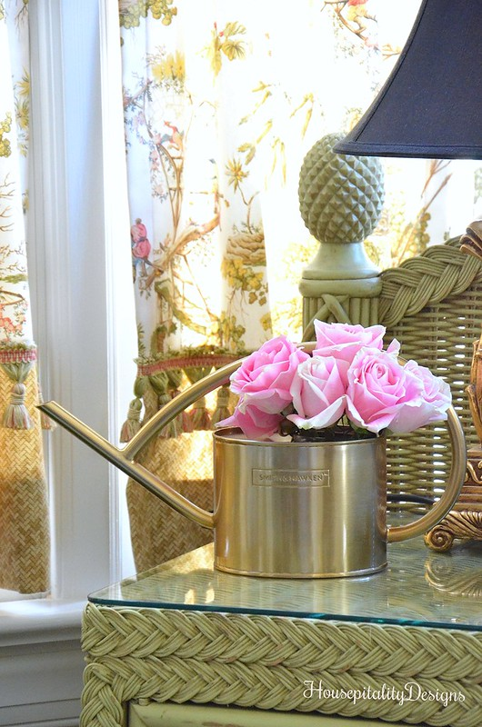 Sunroom-Potting Bench-Gold Watering Can-Pink Roses-Housepitality Designs