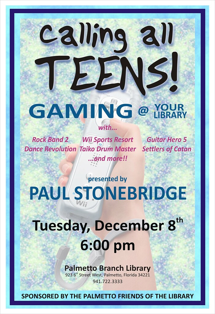 teen gaming program the palmetto branch library please