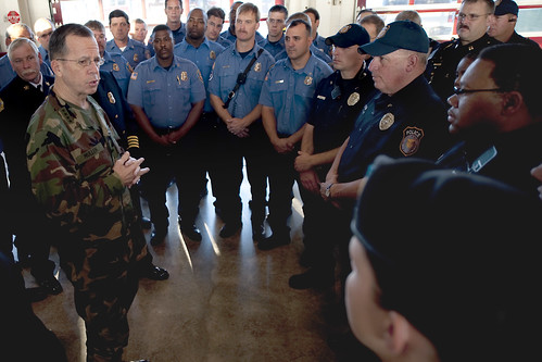 U.S. Navy Adm. Mike Mullen talks with Fort Hood police and firemen | by The U.S. Army