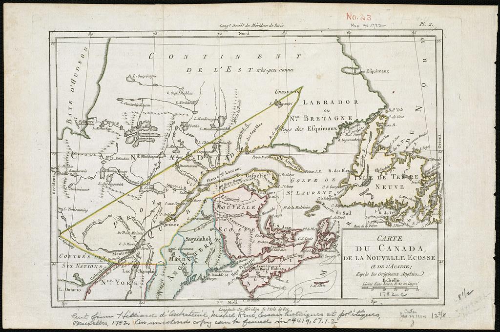 Carte de Canada, de la Nouvelle Ecosse et de l'Acadie, d'a ...