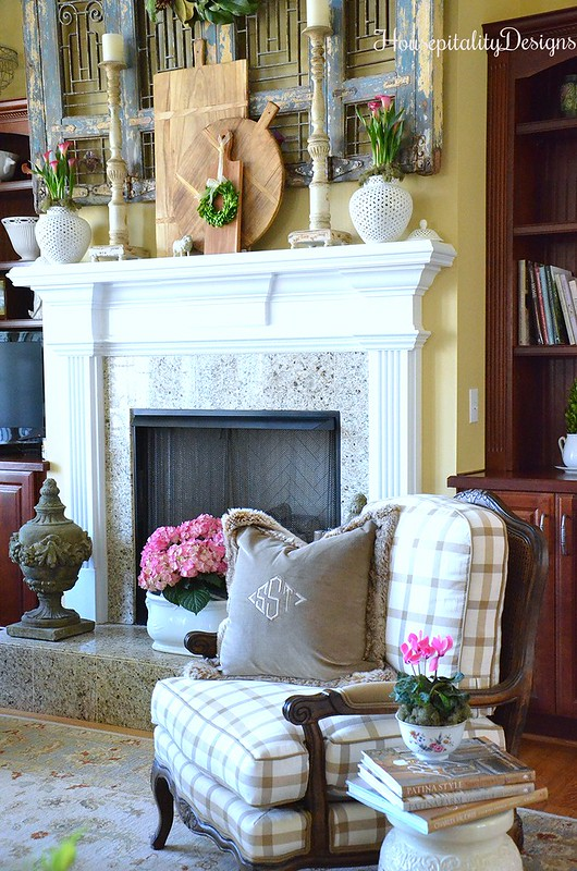 Great Room-Mantel-Antique Shutters-Housepitality Designs