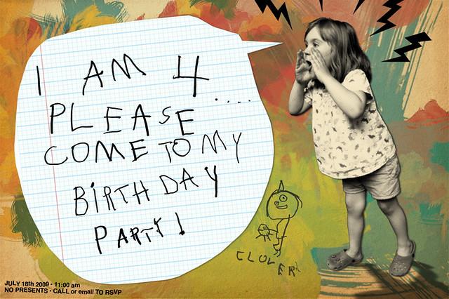 4th Birthday Invite The invitation to Clovers fourth birt Evan