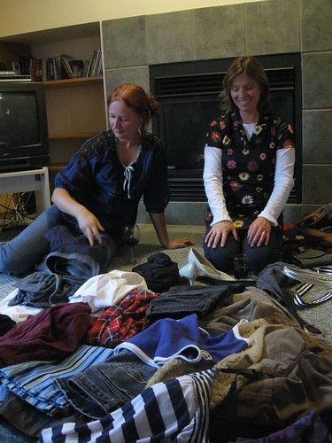 clothes swap in Banff.. me and Ida (and some wine), and a pile of clothes.. | by iwona_kellie