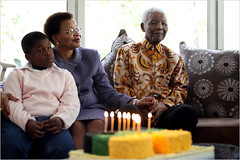 Former South African President and ANC leader Nelson Mandela along with his wife Graca Machel and his grandson. | by Pan-African News Wire File Photos