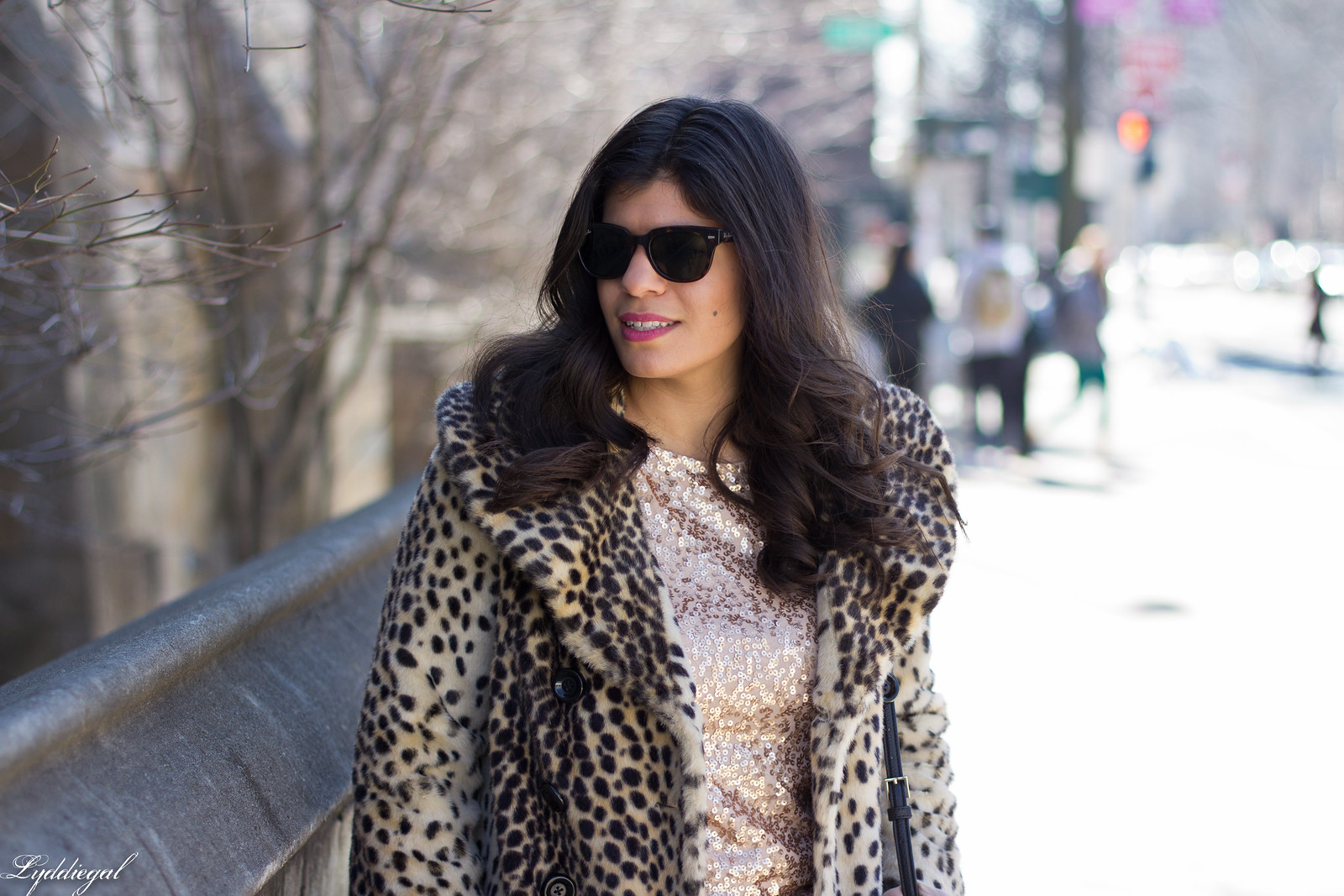 leopard fur coat, sequined top, kate spade bag.jpg