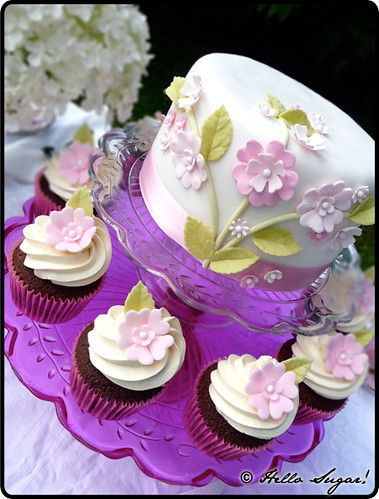 Garden Party Cake and Cupcakes Cupcakes and cake for a ...