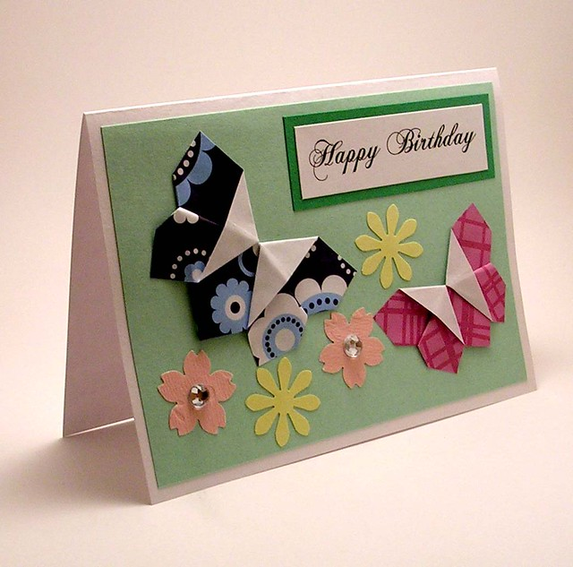 Origami Butterfly Birthday Card Kittykatkards Flickr