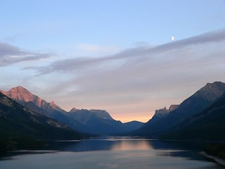 Sunset and Moon at Waterton Lake | by Lee Edwin Coursey