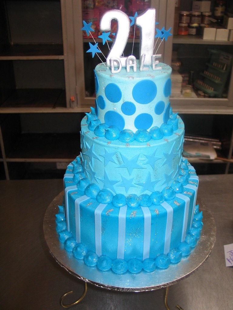 3 tier 21st birthday cake in shades of blue Charlys Bakery Flickr