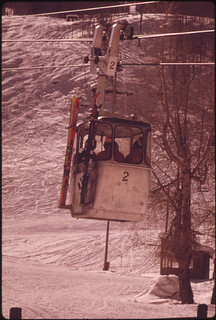 Vail's Two Gondolas Carry Either Six Or Four Passengers Per Car. On a Busy Day 9,000 to 10,000 People Are Carried Up the Mountain 02/1974 | by The U.S. National Archives