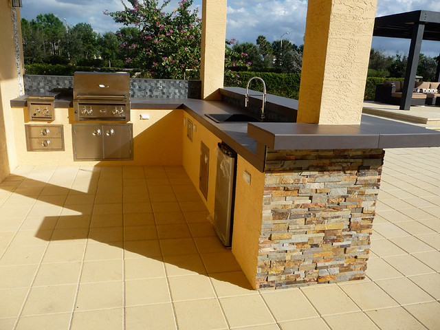 Stacked Stone Amp Stainless Steel Modern Outdoor Kitchen
