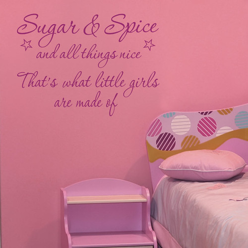 Girls room decor ideas SUGAR AND SPICE Wall quote | by makingstatements.com