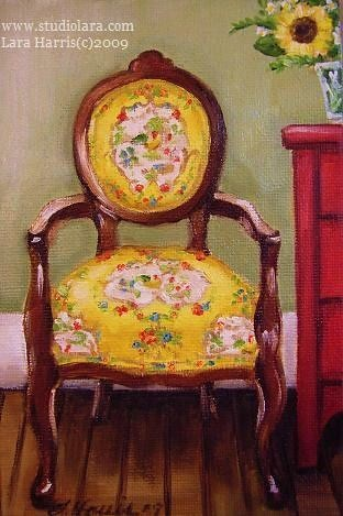 ... Vintage French Country Chair, Still Life Painting In Oil By Lara Harris  | By Studiolara316