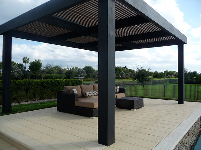 modern pergola custom built patio pool side cabana. Black Bedroom Furniture Sets. Home Design Ideas
