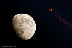 Commercial jetliner in sunlight flies close of moon! | by howardignatius